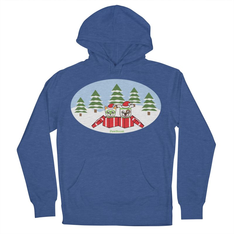 Toby & Moby Presents (winter wonderland) Men's French Terry Pullover Hoody by PawBoost's Shop