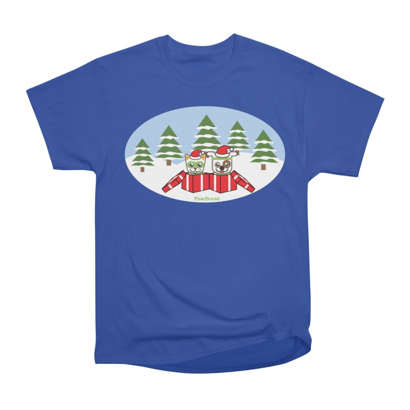 Toby & Moby Presents (winter wonderland) Men's Heavyweight T-Shirt by PawBoost's Shop