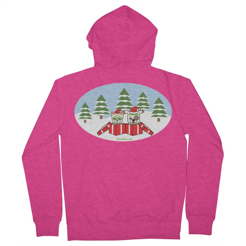 Toby & Moby Presents (winter wonderland) Women's French Terry Zip-Up Hoody by PawBoost's Shop