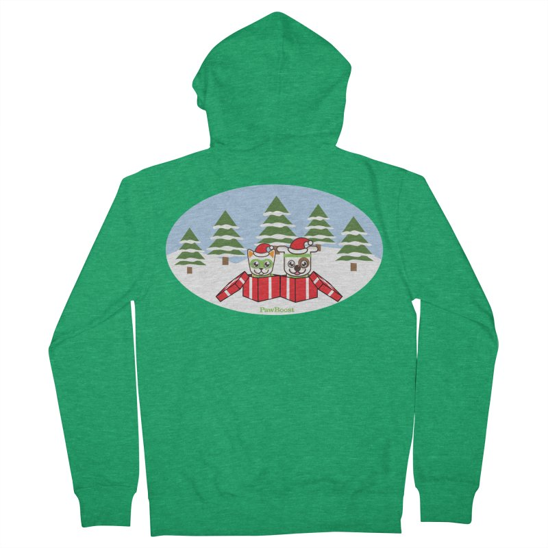 Toby & Moby Presents (winter wonderland) Men's Zip-Up Hoody by PawBoost's Shop