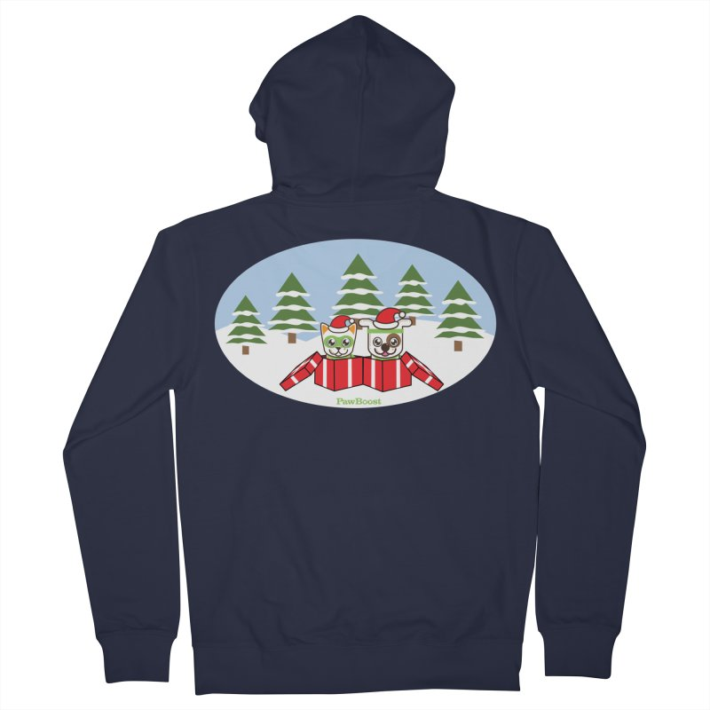 Toby & Moby Presents (winter wonderland) Men's French Terry Zip-Up Hoody by PawBoost's Shop