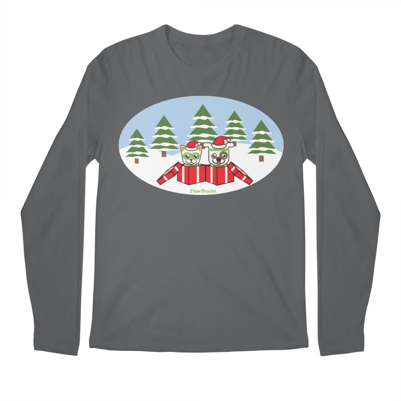Toby & Moby Presents (winter wonderland) Men's Longsleeve T-Shirt by PawBoost's Shop