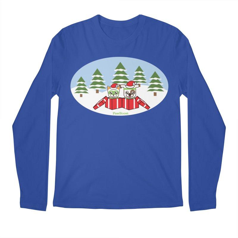Toby & Moby Presents (winter wonderland) Men's Regular Longsleeve T-Shirt by PawBoost's Shop