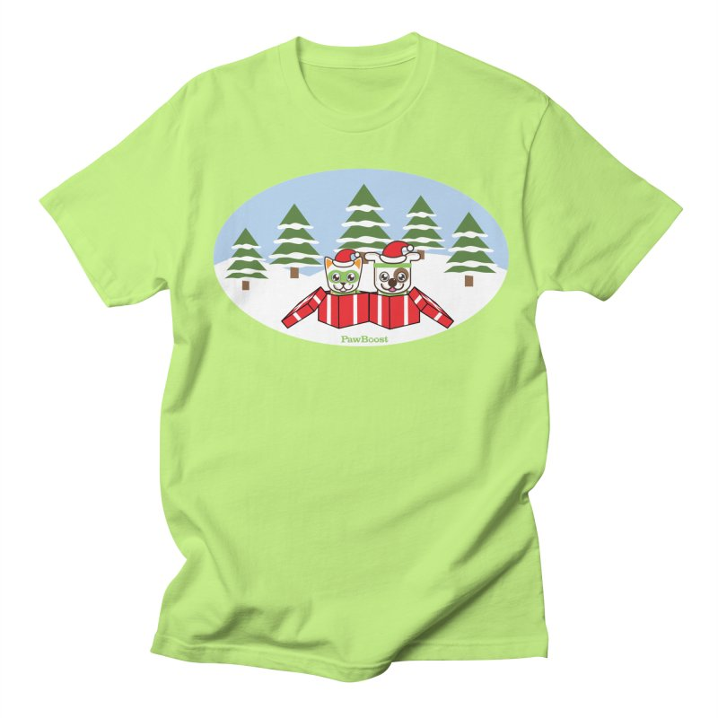 Toby & Moby Presents (winter wonderland) Men's Regular T-Shirt by PawBoost's Shop