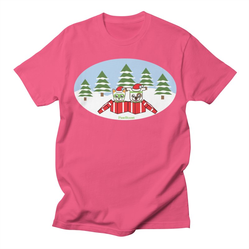 Toby & Moby Presents (winter wonderland) Men's Regular T-Shirt by PawBoost's Shop
