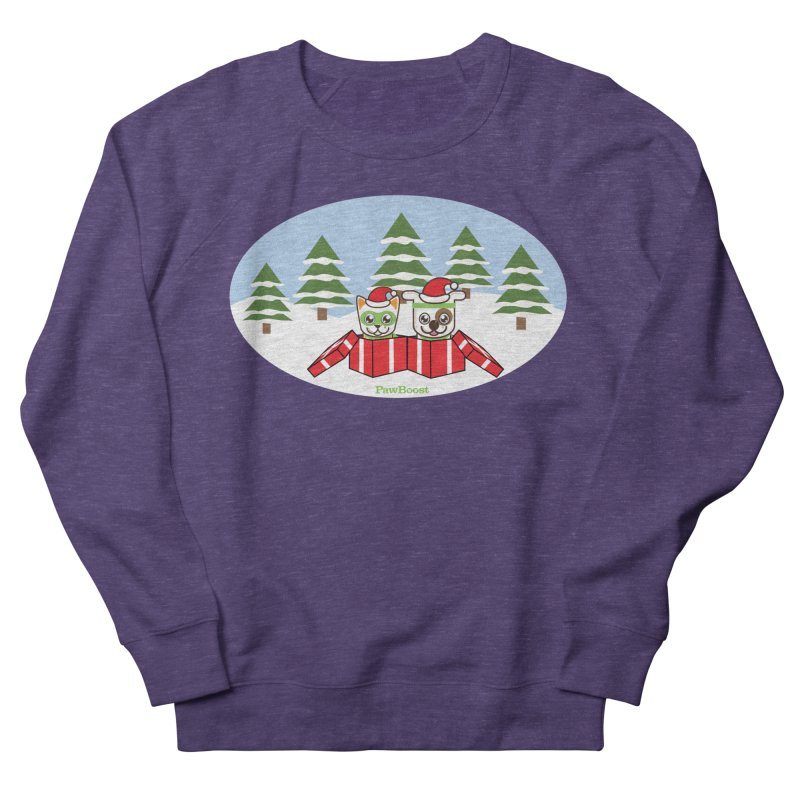Toby & Moby Presents (winter wonderland) Women's French Terry Sweatshirt by PawBoost's Shop