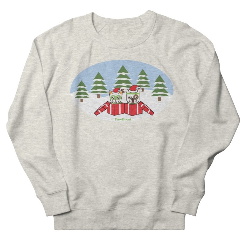 Toby & Moby Presents (winter wonderland) Men's French Terry Sweatshirt by PawBoost's Shop
