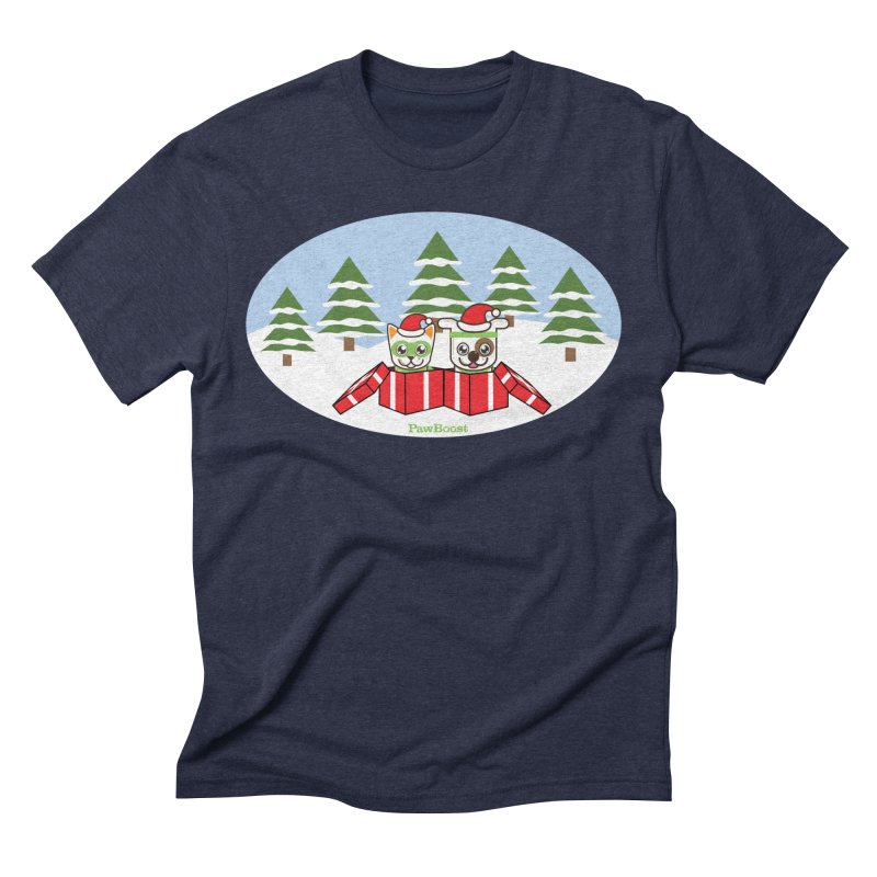 Toby & Moby Presents (winter wonderland) Men's Triblend T-Shirt by PawBoost's Shop