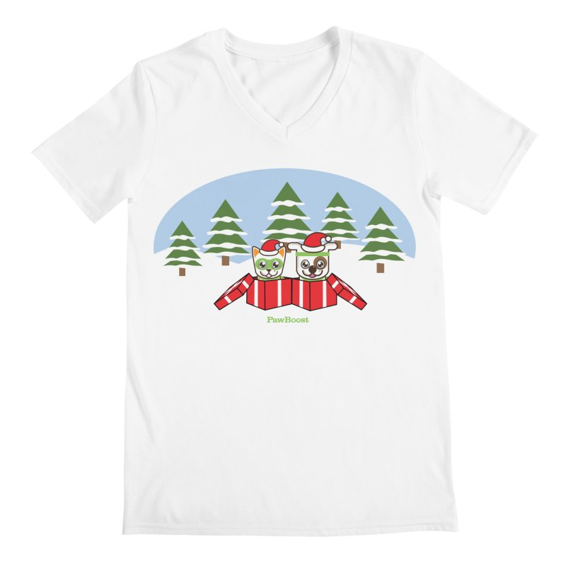 Toby & Moby Presents (winter wonderland) Men's V-Neck by PawBoost's Shop