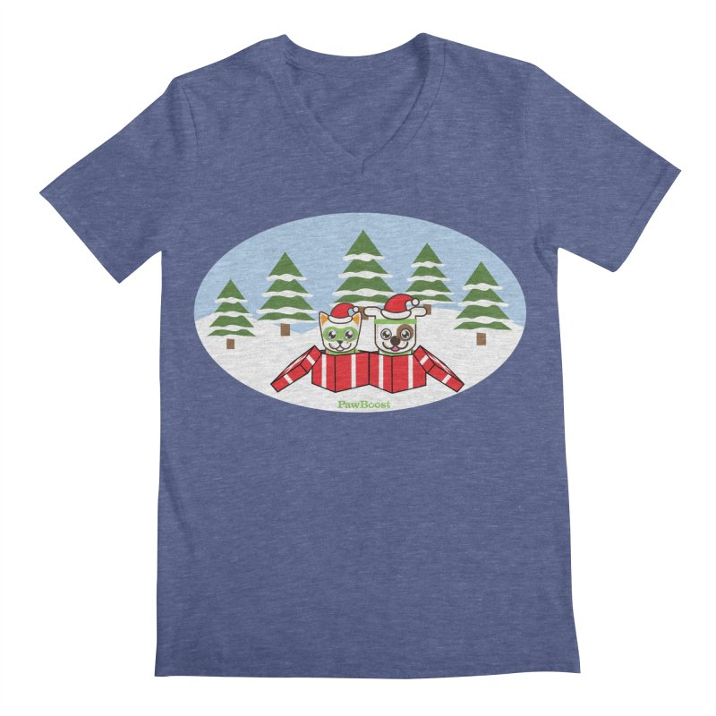 Toby & Moby Presents (winter wonderland) Men's Regular V-Neck by PawBoost's Shop
