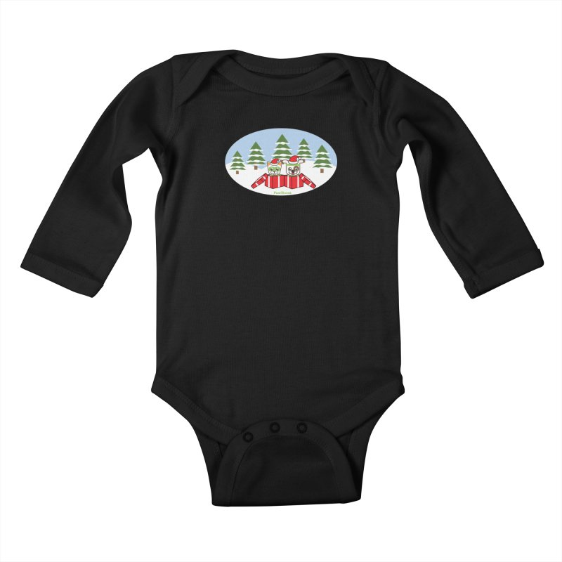 Toby & Moby Presents (winter wonderland) Kids Baby Longsleeve Bodysuit by PawBoost's Shop