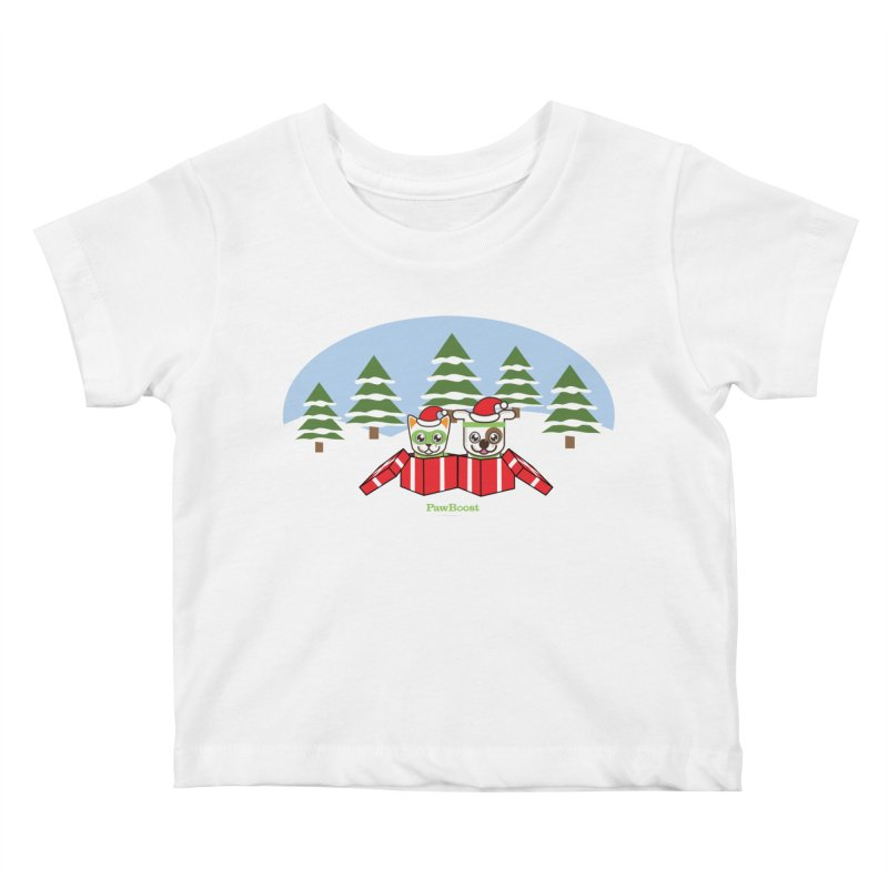 Toby & Moby Presents (winter wonderland) Kids Baby T-Shirt by PawBoost's Shop