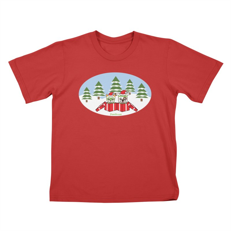 Toby & Moby Presents (winter wonderland) Kids T-Shirt by PawBoost's Shop