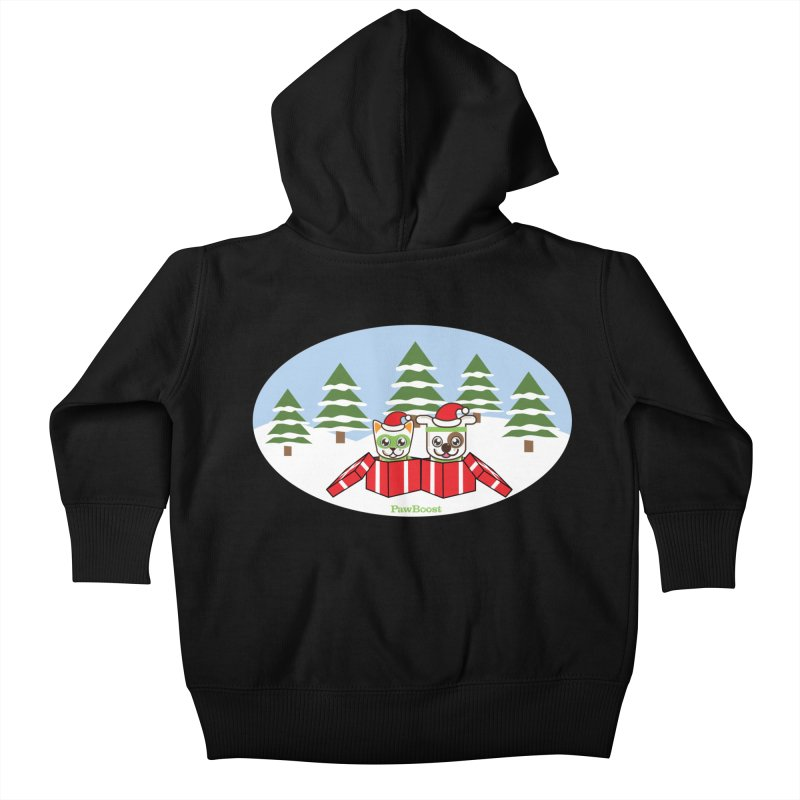 Toby & Moby Presents (winter wonderland) Kids Baby Zip-Up Hoody by PawBoost's Shop