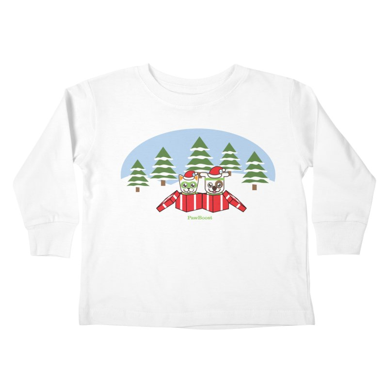 Toby & Moby Presents (winter wonderland) Kids Toddler Longsleeve T-Shirt by PawBoost's Shop