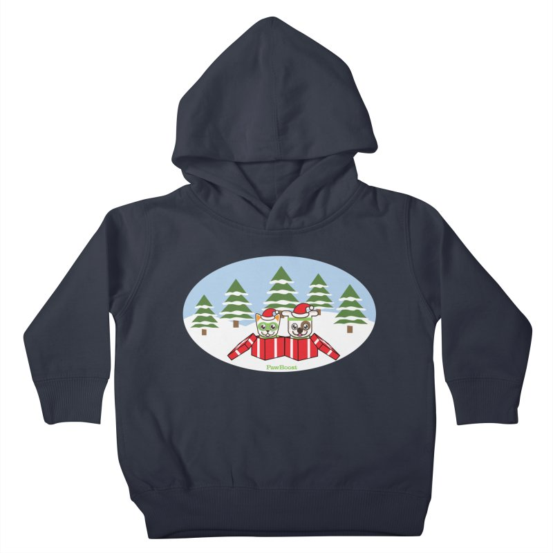 Toby & Moby Presents (winter wonderland) Kids Toddler Pullover Hoody by PawBoost's Shop