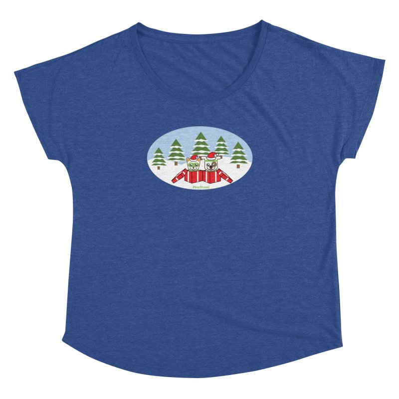 Toby & Moby Presents (winter wonderland) Women's Dolman Scoop Neck by PawBoost's Shop