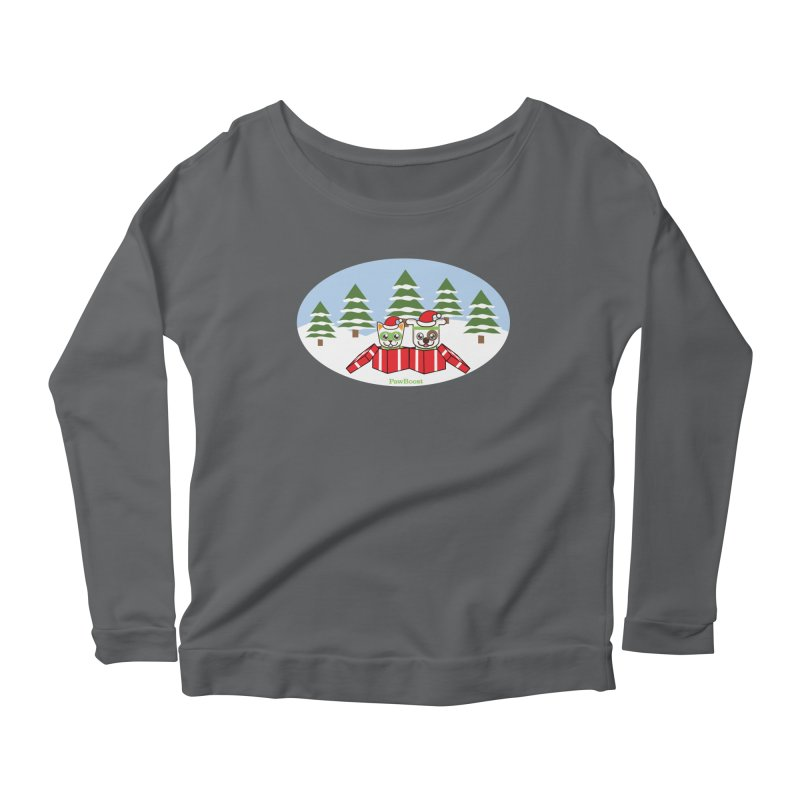 Toby & Moby Presents (winter wonderland) Women's Scoop Neck Longsleeve T-Shirt by PawBoost's Shop