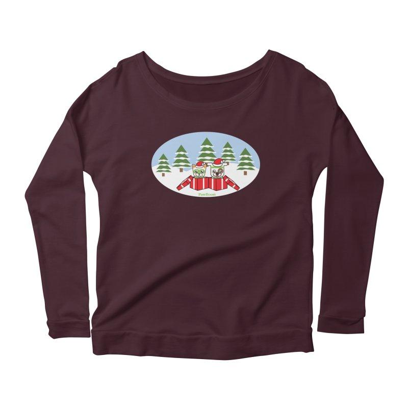 Toby & Moby Presents (winter wonderland) Women's Scoop Neck Longsleeve T-Shirt by PawBoost's Shop