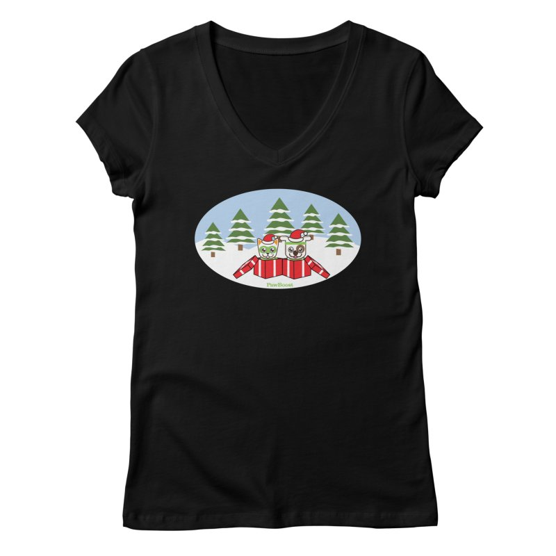 Toby & Moby Presents (winter wonderland) Women's V-Neck by PawBoost's Shop
