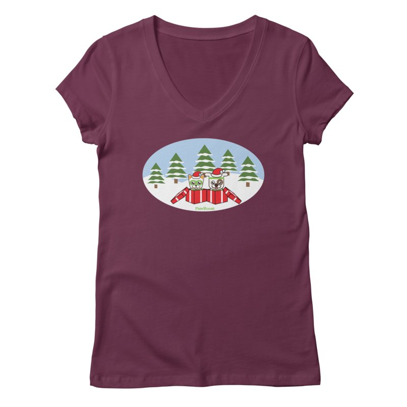 Toby & Moby Presents (winter wonderland) Women's Regular V-Neck by PawBoost's Shop