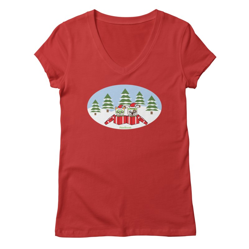 Toby & Moby Presents (winter wonderland) Women's Regular V-Neck by PawBoost's Shop