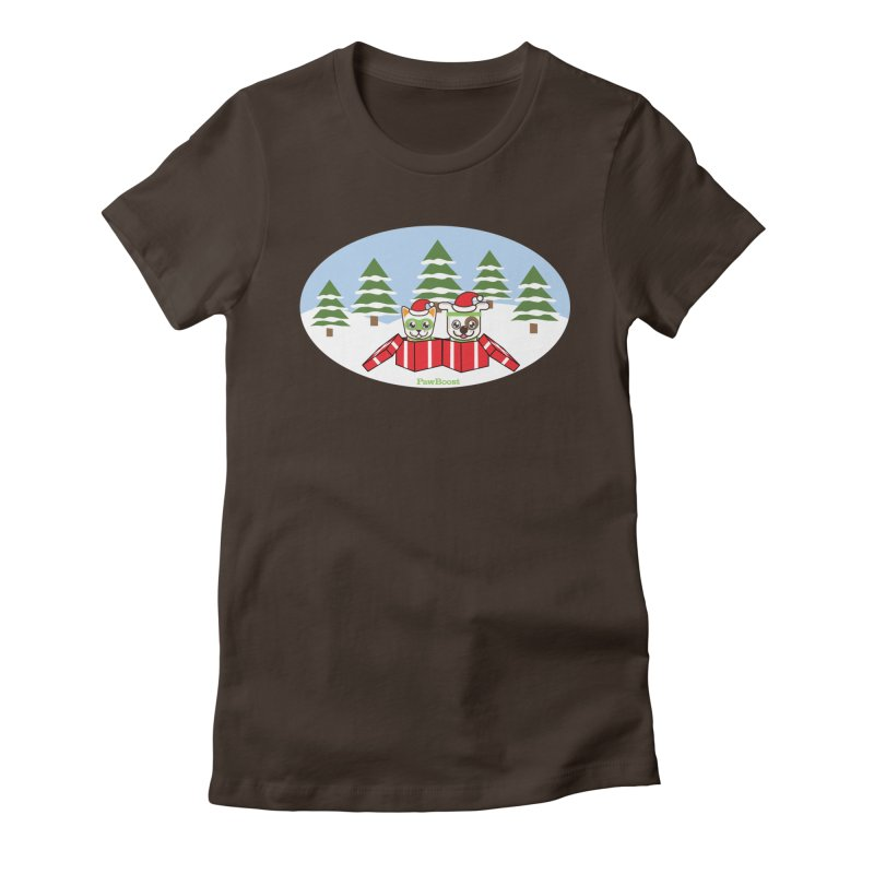 Toby & Moby Presents (winter wonderland) Women's Fitted T-Shirt by PawBoost's Shop