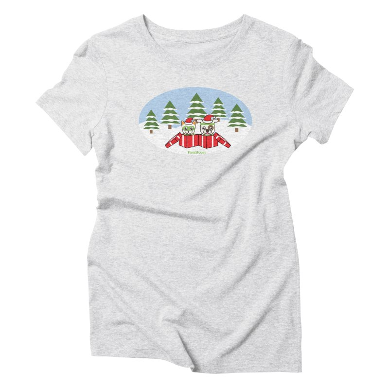 Toby & Moby Presents (winter wonderland) Women's Triblend T-Shirt by PawBoost's Shop