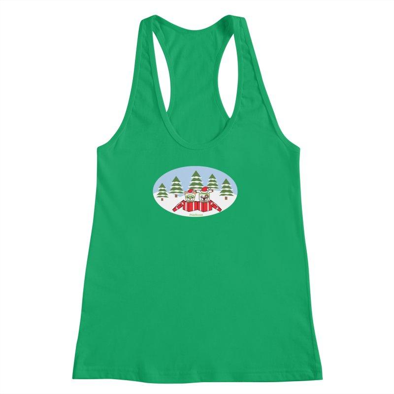 Toby & Moby Presents (winter wonderland) Women's Racerback Tank by PawBoost's Shop