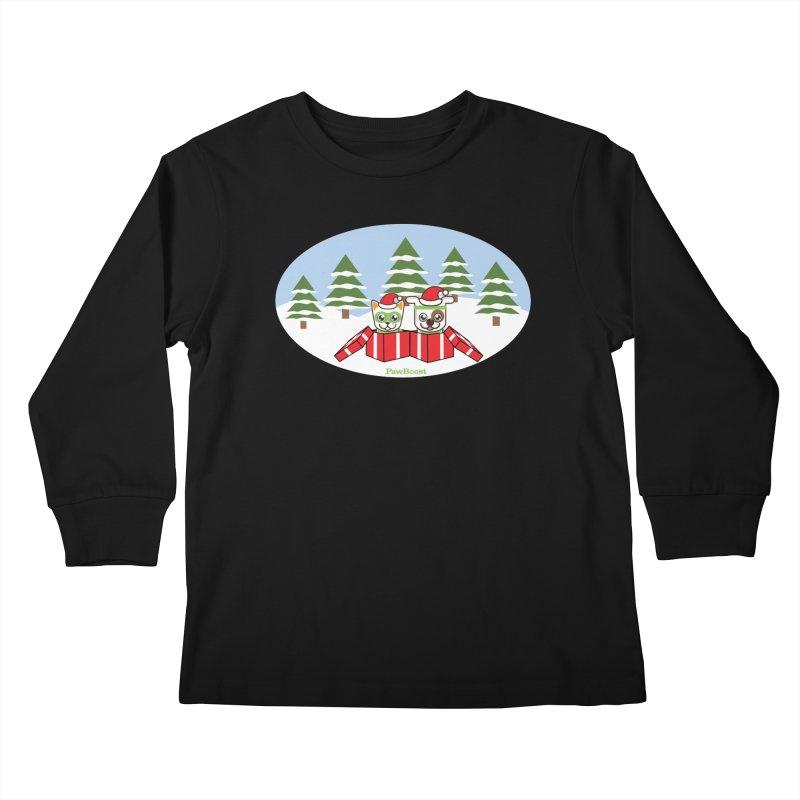 Toby & Moby Presents (winter wonderland) Kids Longsleeve T-Shirt by PawBoost's Shop
