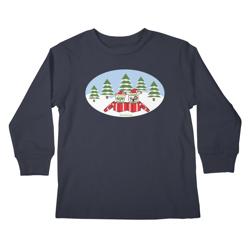 Toby & Moby Presents (winter wonderland) Kids Longsleeve T-Shirt by PawBoost's Shop