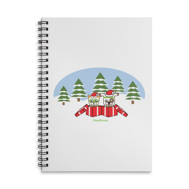 Toby & Moby Presents (winter wonderland) Accessories Lined Spiral Notebook by PawBoost's Shop