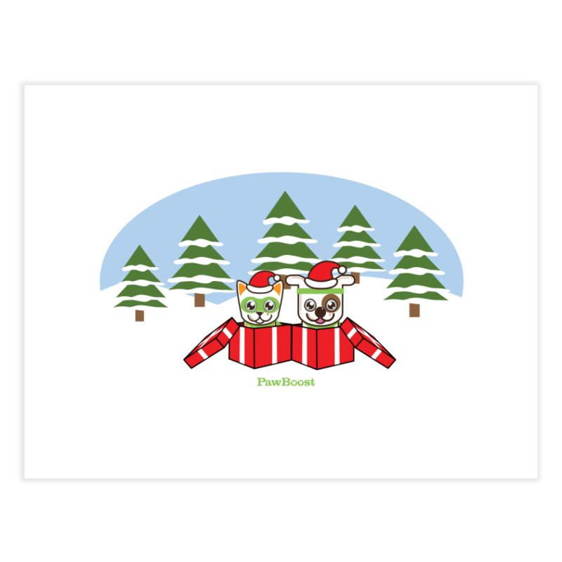 Toby & Moby Presents (winter wonderland) Home Fine Art Print by PawBoost's Shop