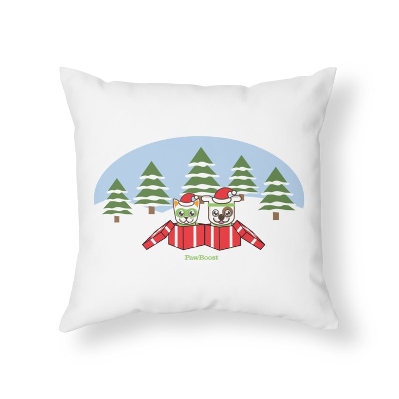 Toby & Moby Presents (winter wonderland) Home Throw Pillow by PawBoost's Shop