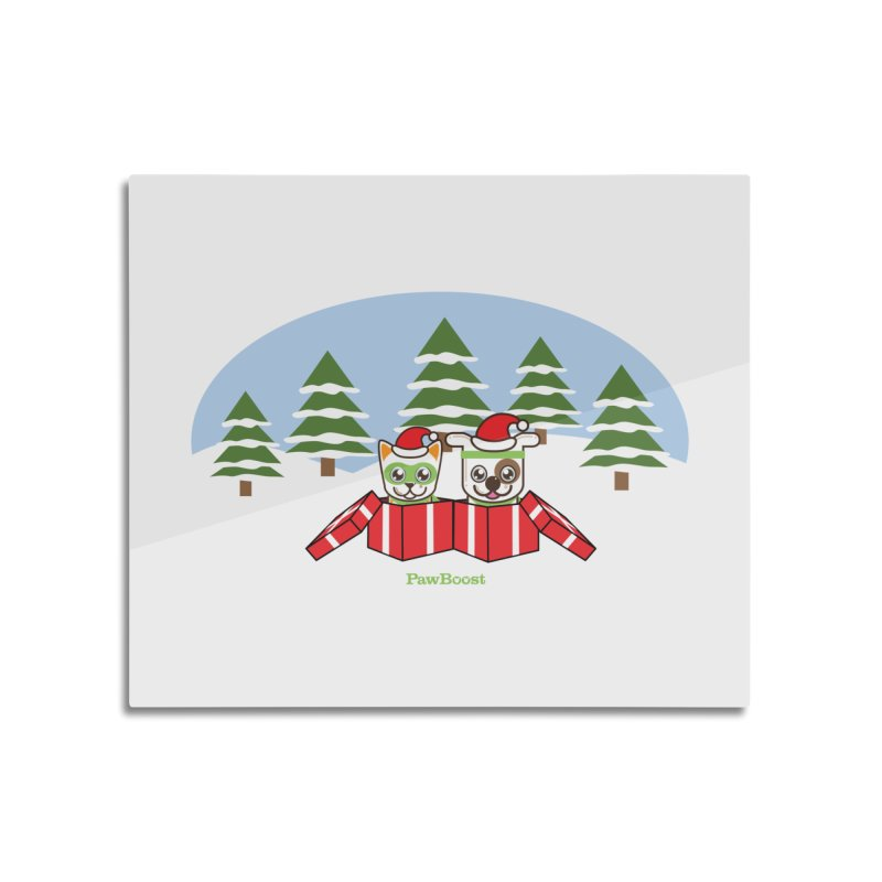 Toby & Moby Presents (winter wonderland) Home Mounted Aluminum Print by PawBoost's Shop