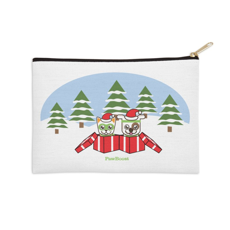 Toby & Moby Presents (winter wonderland) Accessories Zip Pouch by PawBoost's Shop