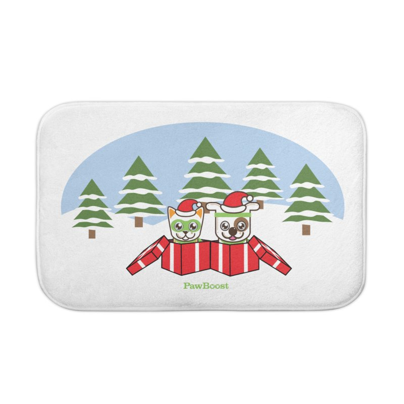 Toby & Moby Presents (winter wonderland) Home Bath Mat by PawBoost's Shop