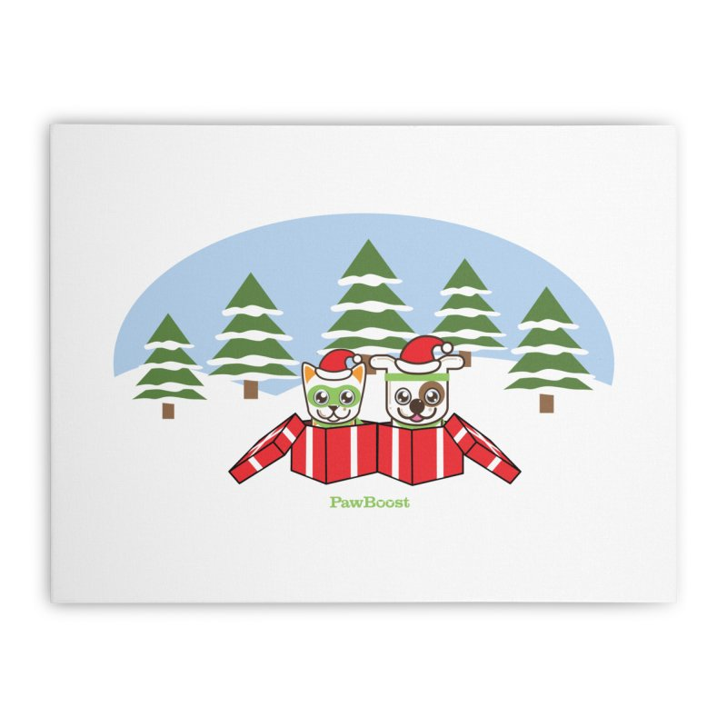Toby & Moby Presents (winter wonderland) Home Stretched Canvas by PawBoost's Shop