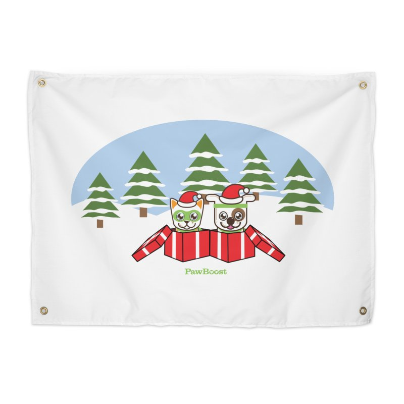 Toby & Moby Presents (winter wonderland) Home Tapestry by PawBoost's Shop