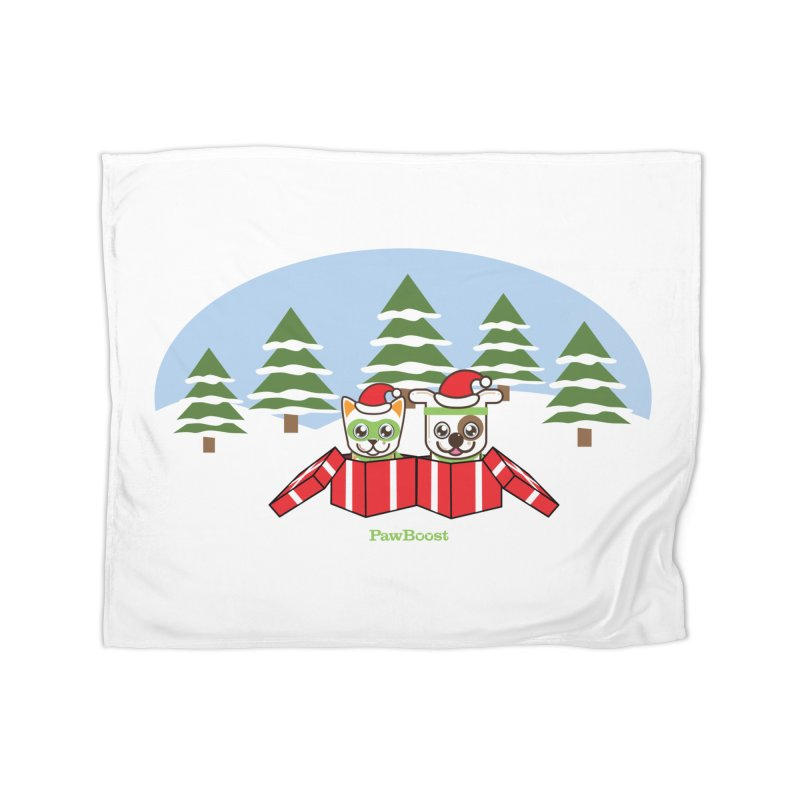 Toby & Moby Presents (winter wonderland) Home Fleece Blanket Blanket by PawBoost's Shop