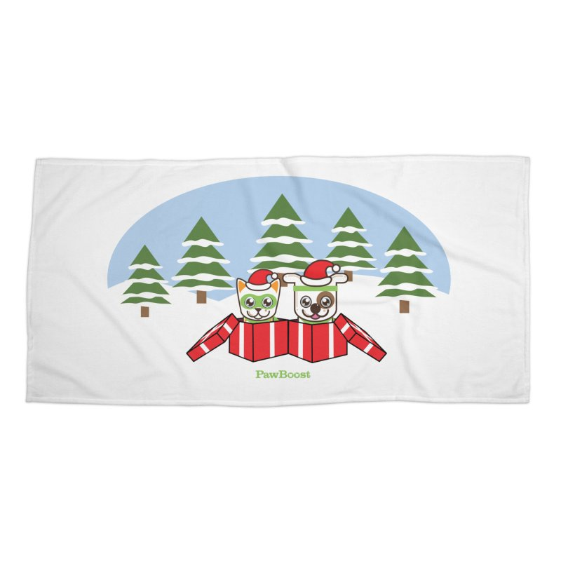 Toby & Moby Presents (winter wonderland) Accessories Beach Towel by PawBoost's Shop