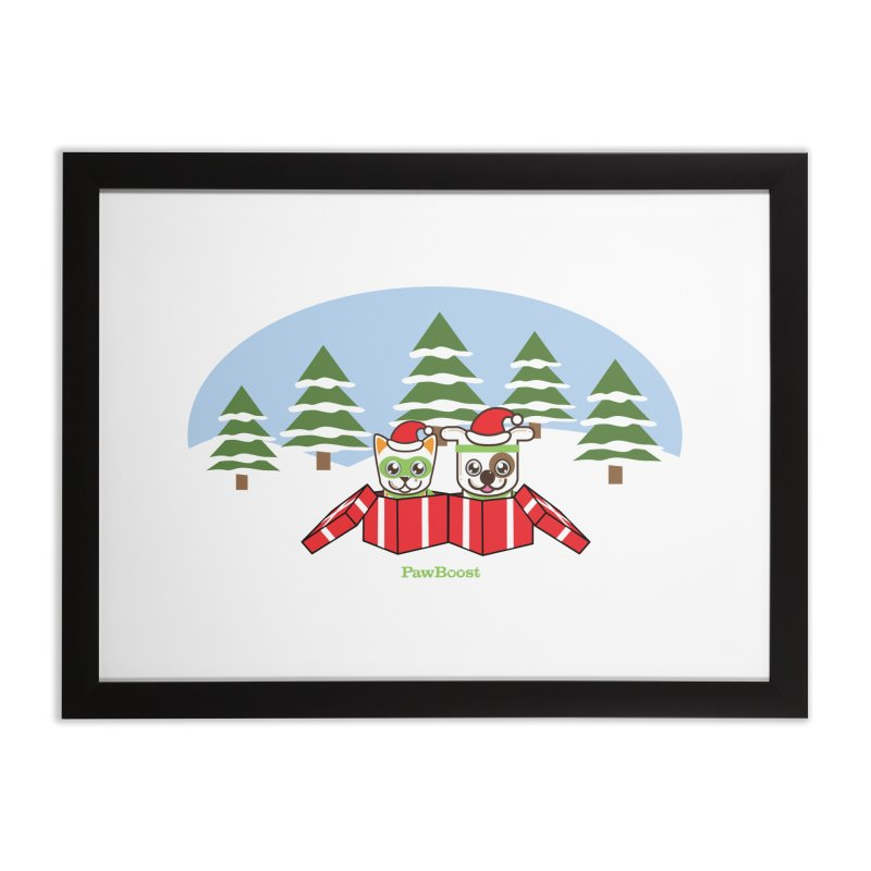 Toby & Moby Presents (winter wonderland) Home Framed Fine Art Print by PawBoost's Shop