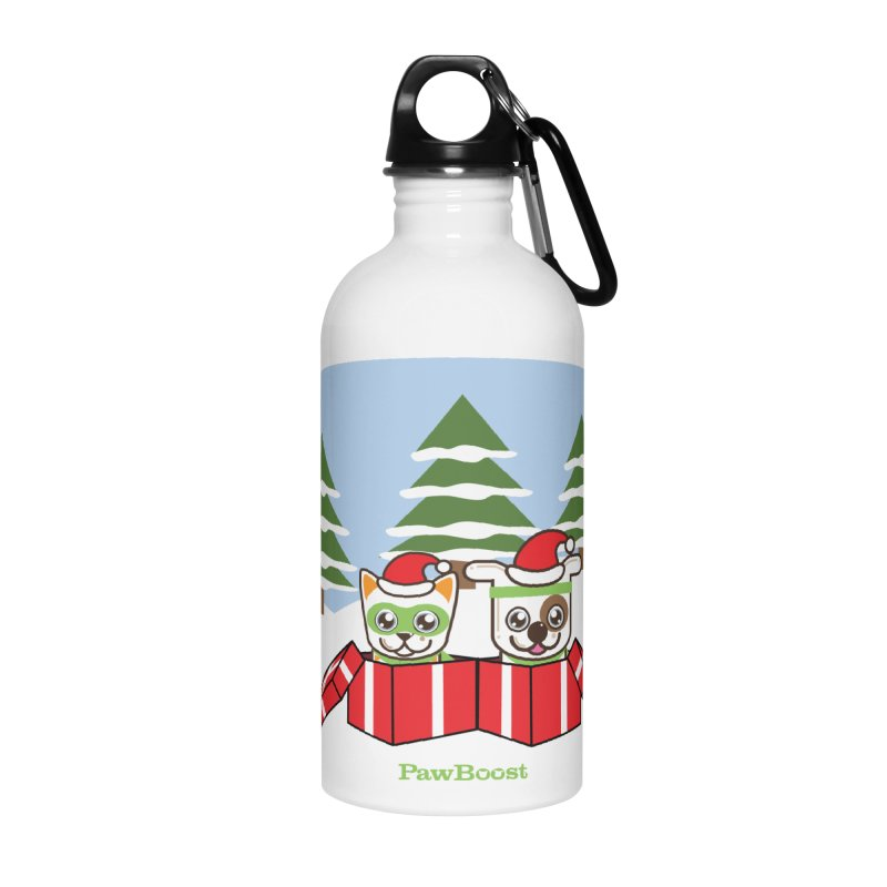 Toby & Moby Presents (winter wonderland) Accessories Water Bottle by PawBoost's Shop