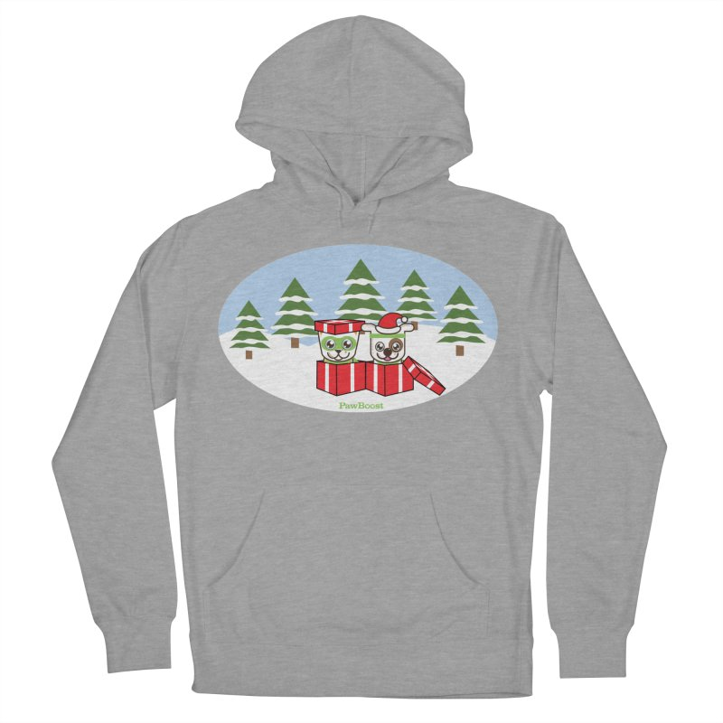 Toby & Moby Presents (winter wonderland) in Women's French Terry Pullover Hoody Heather Graphite by PawBoost's Shop