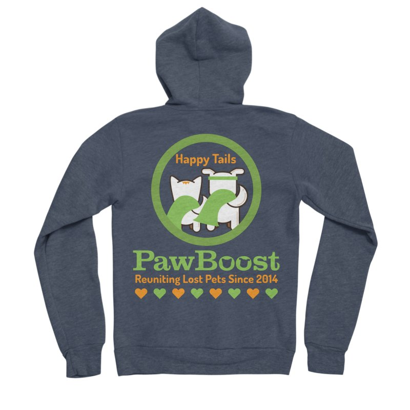 Happy Tails Men's Sponge Fleece Zip-Up Hoody by PawBoost's Shop