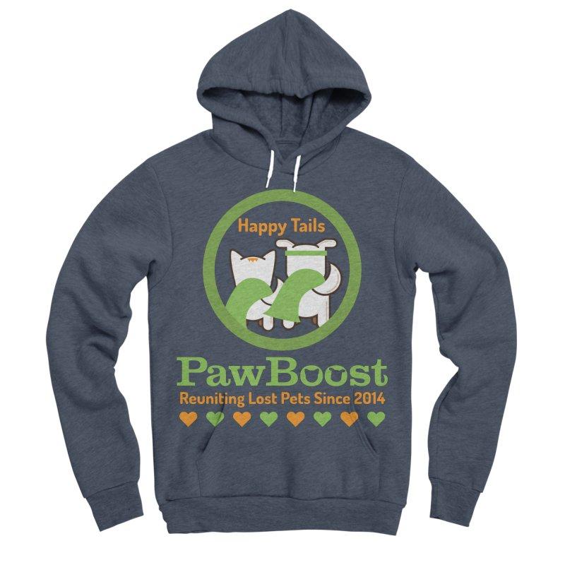Happy Tails Men's Sponge Fleece Pullover Hoody by PawBoost's Shop
