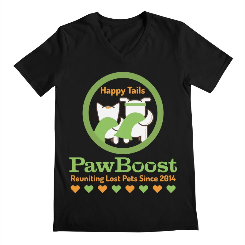 Happy Tails Men's Regular V-Neck by PawBoost's Shop