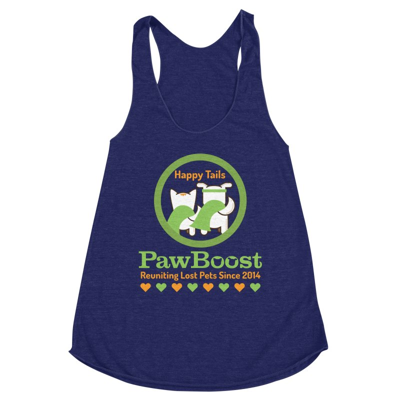 Happy Tails Women's Racerback Triblend Tank by PawBoost's Shop