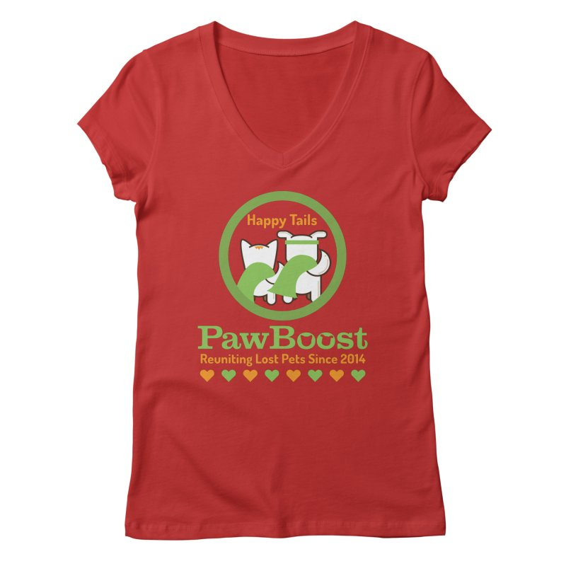 Happy Tails Women's Regular V-Neck by PawBoost's Shop