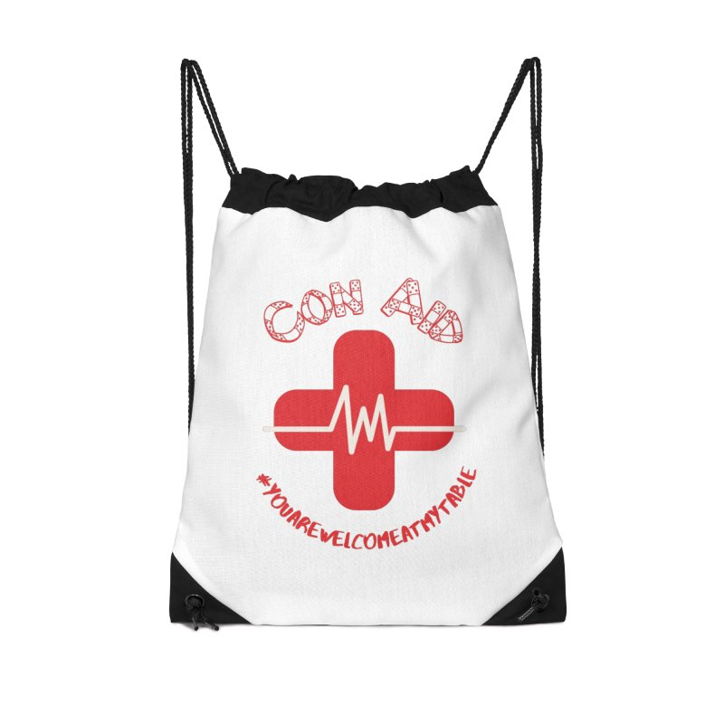 Con Aid Accessories Drawstring Bag Bag by #youarewelcomeatmytable | A Pawn's Perspective